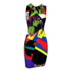 1991 Gianni Versace RARE Vogue Print Bodycon Stretch Mini Dress