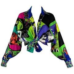 1991 Gianni Versace Vogue Print Silk Button Down Blouse Top