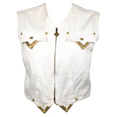 1991 Gianni Versace White Denim Waistcoat With Gilt Tips