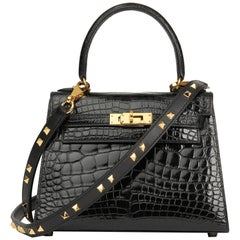 1991 Hermès Black Shiny Mississippiensis Alligator Leather Kelly 20cm Sellier