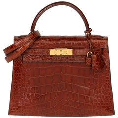 1991 Hermès Miel Shiny Alligator Leather Vintage Kelly 28cm Sellier