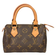 1991 Louis Vuitton Brown Monogram Coated Canvas & Leather Vintage Mini HL Speedy