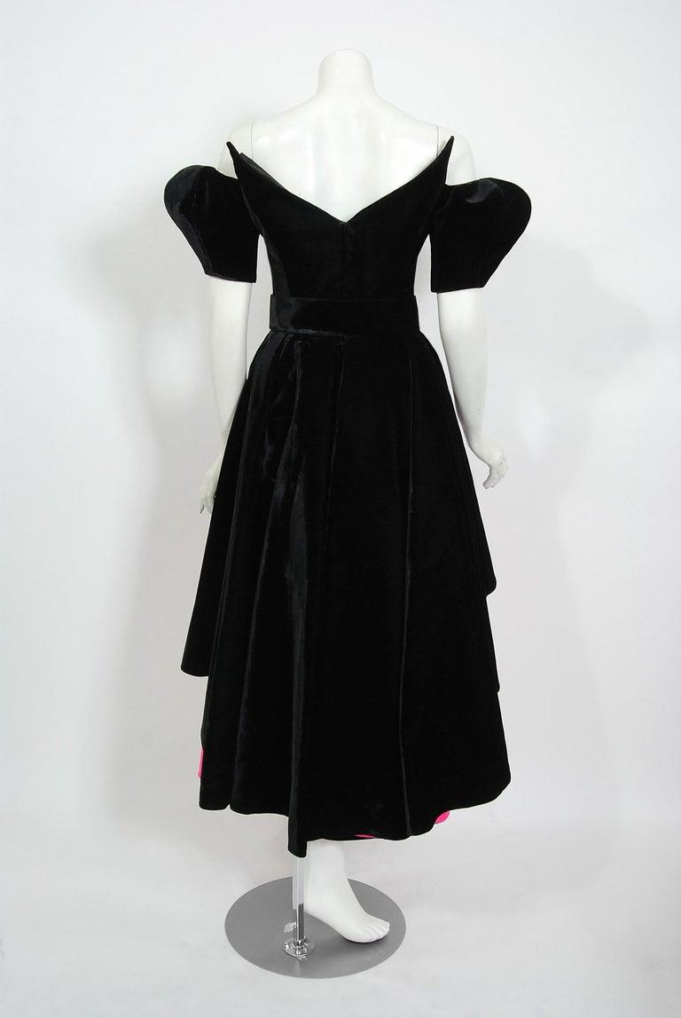 Vintage 1991 Thierry Mugler Runway Black Velvet Fuchsia-Pink Silk High Low Gown For Sale 5