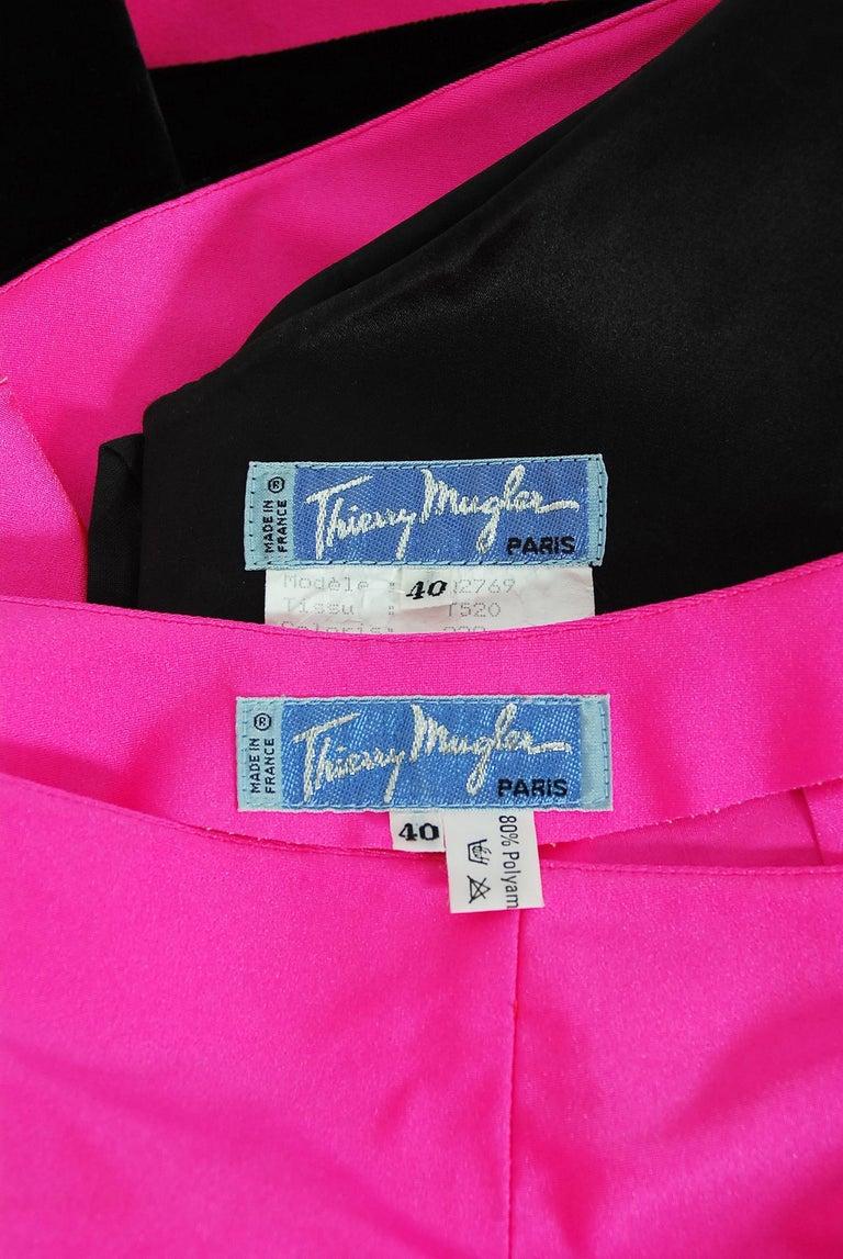 Vintage 1991 Thierry Mugler Runway Black Velvet Fuchsia-Pink Silk High Low Gown For Sale 6