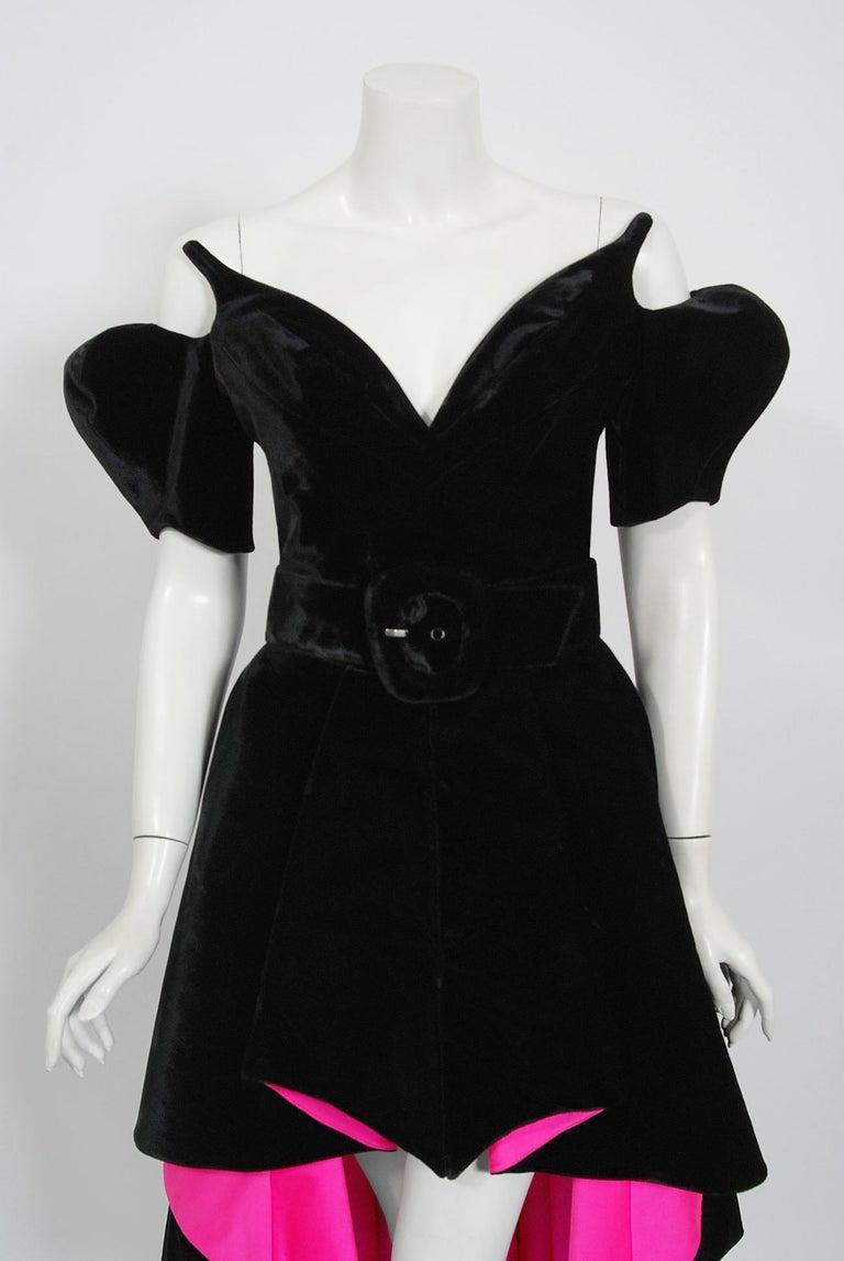 Purple Vintage 1991 Thierry Mugler Runway Black Velvet Fuchsia-Pink Silk High Low Gown For Sale