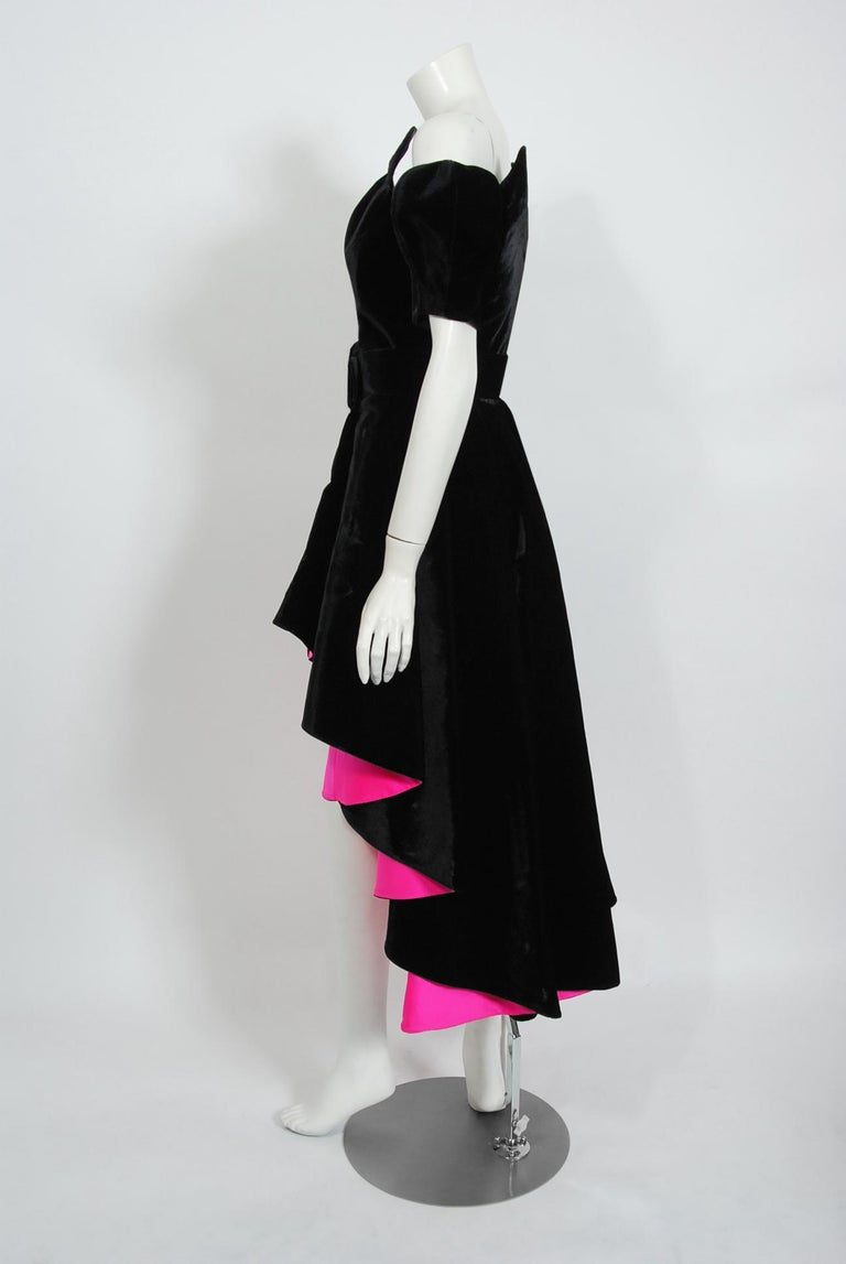Vintage 1991 Thierry Mugler Runway Black Velvet Fuchsia-Pink Silk High Low Gown For Sale 1