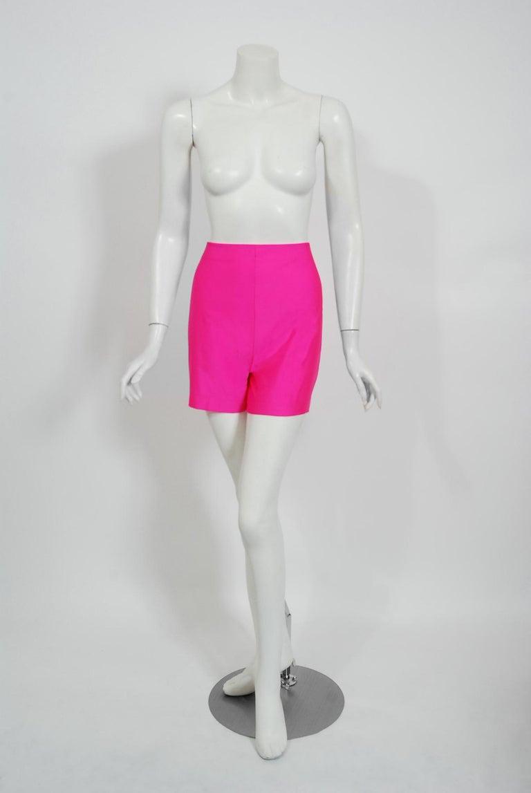 Vintage 1991 Thierry Mugler Runway Black Velvet Fuchsia-Pink Silk High Low Gown For Sale 2