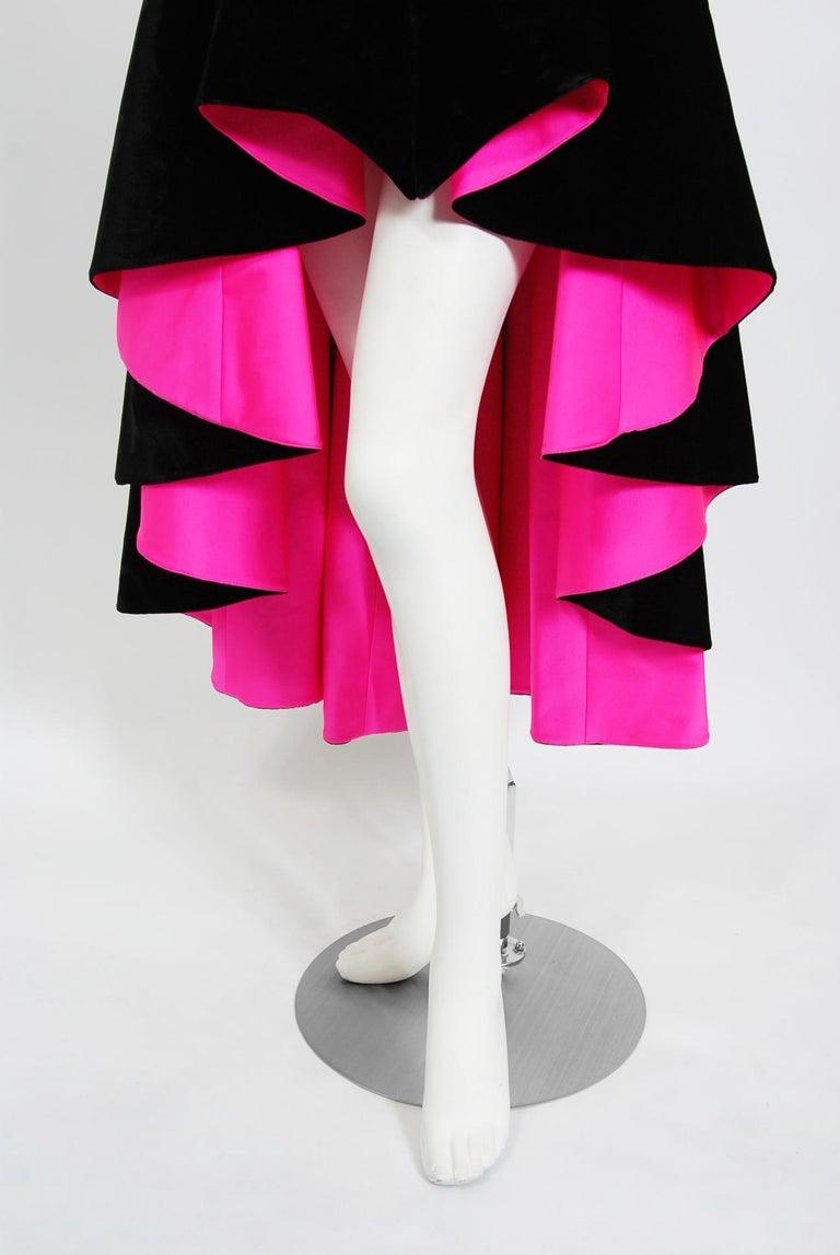 Vintage 1991 Thierry Mugler Runway Black Velvet Fuchsia-Pink Silk High Low Gown For Sale 3