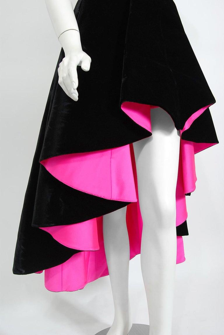 Vintage 1991 Thierry Mugler Runway Black Velvet Fuchsia-Pink Silk High Low Gown For Sale 4