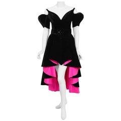 1991 Thierry Mugler Runway Black Velvet Fuchsia-Pink Silk Sculpted High Low Gown