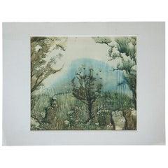 1991 Ukrainian Expressionist Landscape Watercolor Painting USSR Soviet