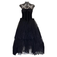 1991 Valentino Boutique Black Lace Dress S