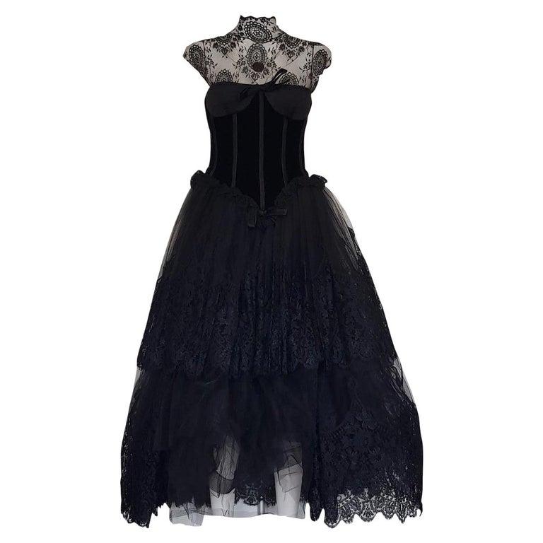 1991 Valentino Boutique Black Lace Dress S For Sale