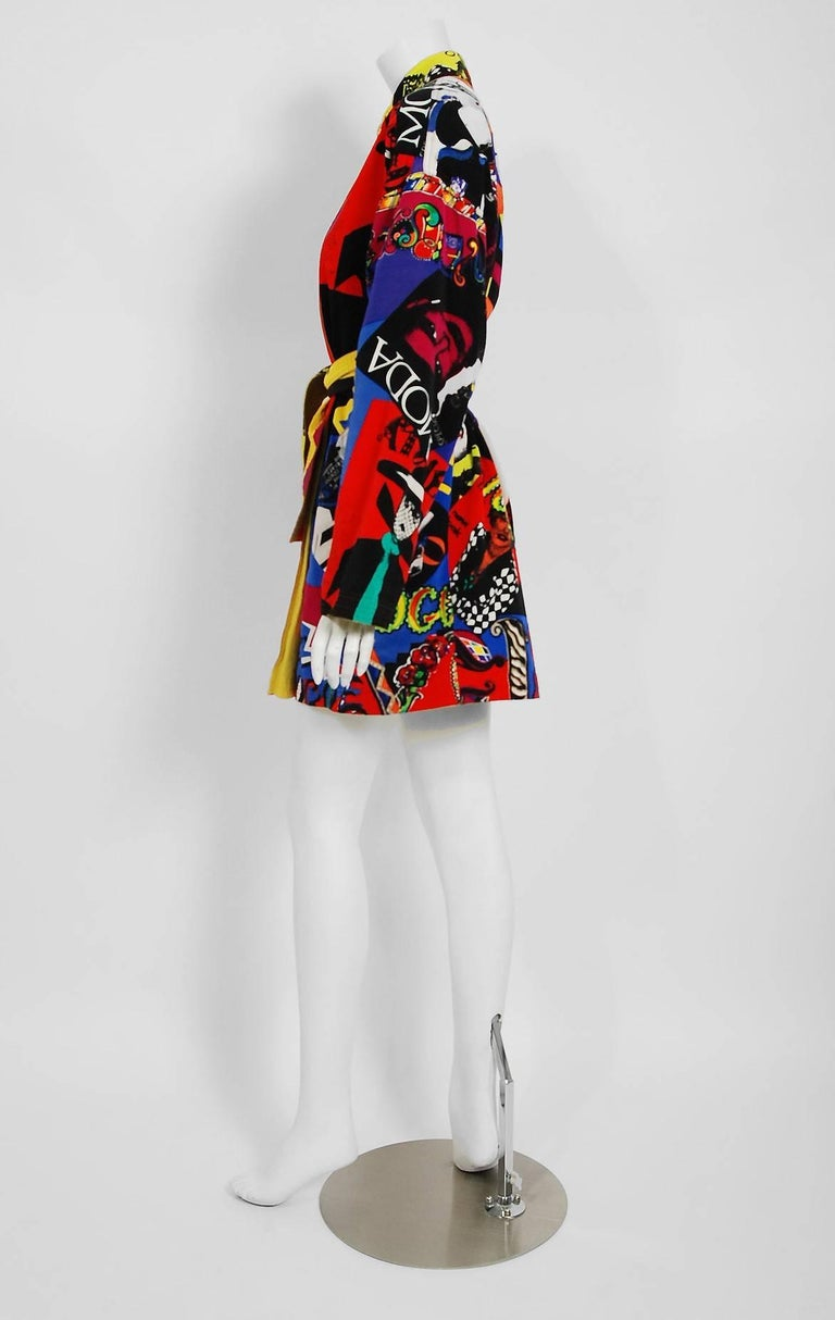 Vintage 1991 Versace Couture Colorful Vogue Print Reversible Belted Trench Coat For Sale 1
