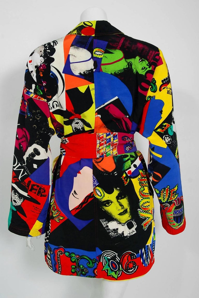 Vintage 1991 Versace Couture Colorful Vogue Print Reversible Belted Trench Coat For Sale 4