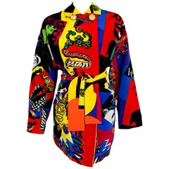 1991 Versace Couture Colorful Vogue Print Reversible Belted Trench Coat Jacket