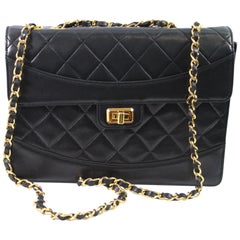 1991 Vintage Chanel Black Lambskin Leather Bag with 2.55 Golden Hardware