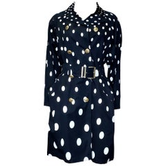 1991 Vintage Gianni Versace Polka Dot Trench Coat 38 - 2