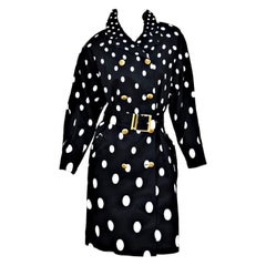 1991 Vintage Gianni Versace Polka Dot Trench Coat