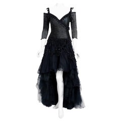 1991 Zandra Rhodes Black Tulle Tassel Fringe Bare Shoulder High-Low Gothic Gown
