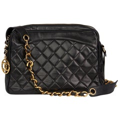 1991b Chanel Black Quilted Lambskin Vintage Timeless Charm Camera Bag