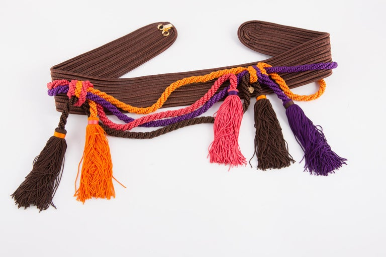 1991s Yves Saint Laurent Catwalk Iconic Multicolor Braided belt In Excellent Condition For Sale In Paris, FR