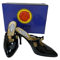 1992 Atelier Versace Black Patent Leather Shoes 38 - 8
