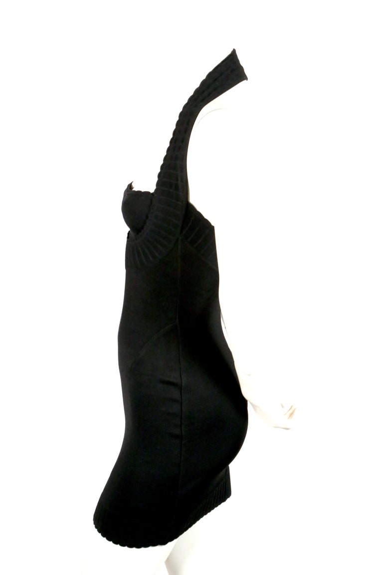 1992 AZZEDINE ALAIA black halterneck mini dress with scalloped trim In Good Condition For Sale In San Fransisco, CA