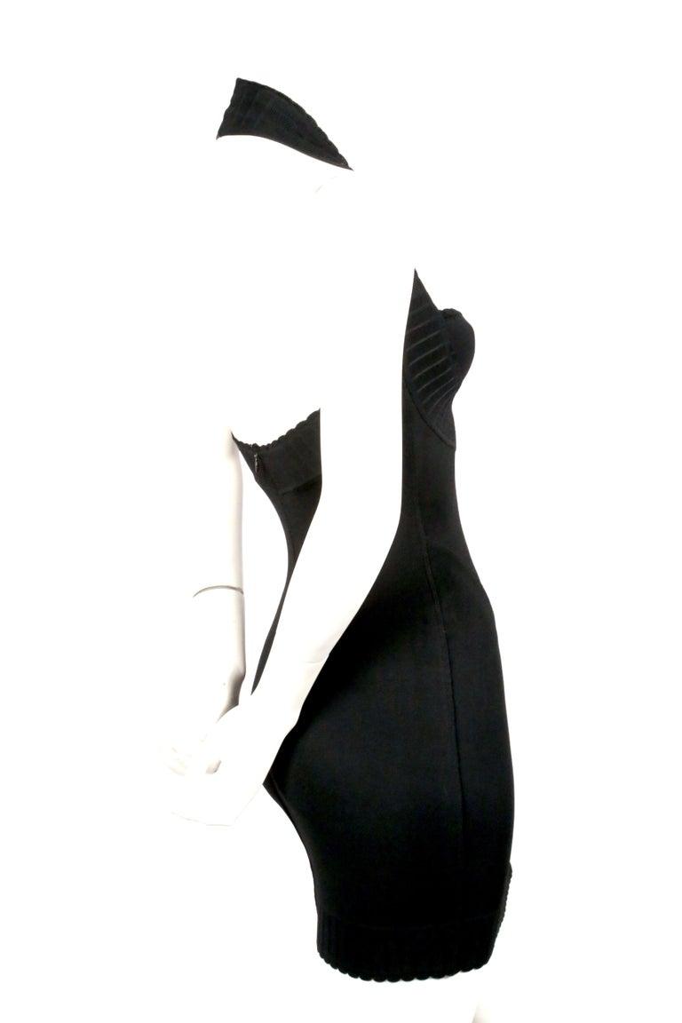 1992 AZZEDINE ALAIA black halterneck mini dress with scalloped trim For Sale 1