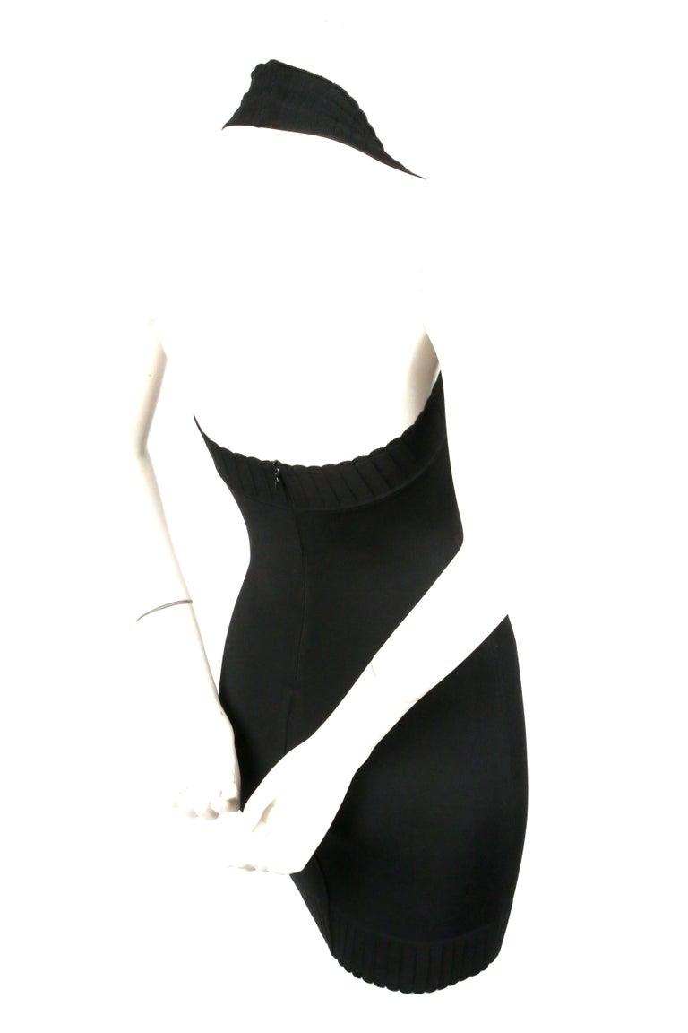 1992 AZZEDINE ALAIA black halterneck mini dress with scalloped trim For Sale 2