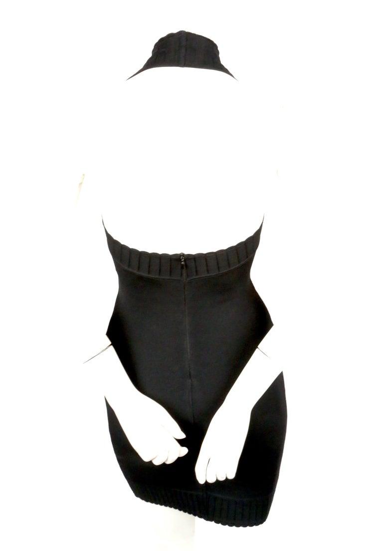 1992 AZZEDINE ALAIA black halterneck mini dress with scalloped trim For Sale 3