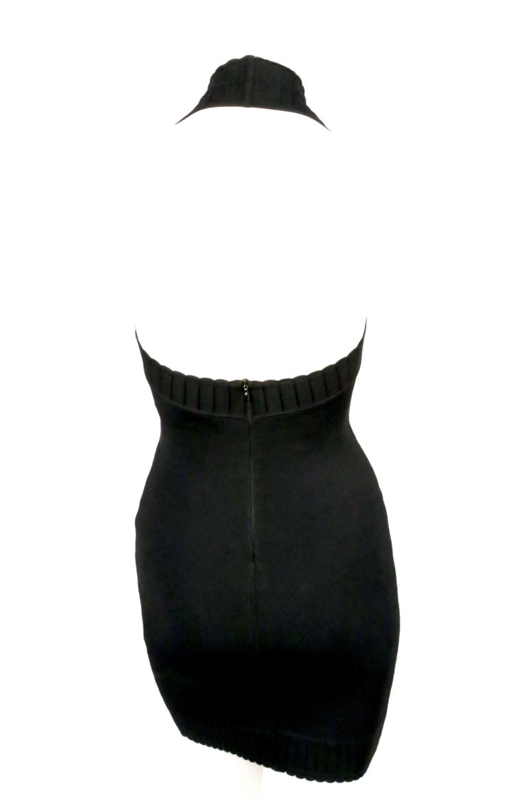 1992 AZZEDINE ALAIA black halterneck mini dress with scalloped trim For Sale 4