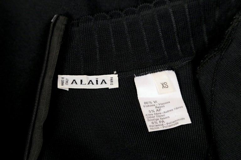 1992 AZZEDINE ALAIA black halterneck mini dress with scalloped trim For Sale 5