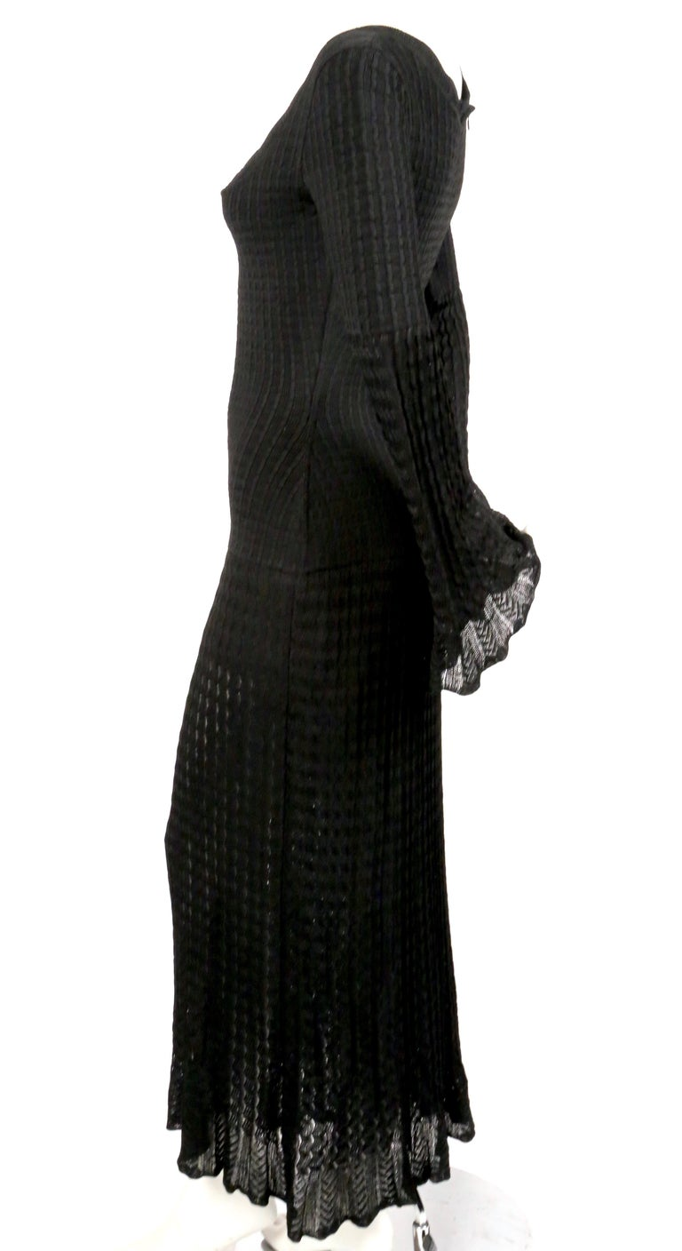 1992 AZZEDINE ALAIA black open knit long dress In Good Condition For Sale In San Fransisco, CA