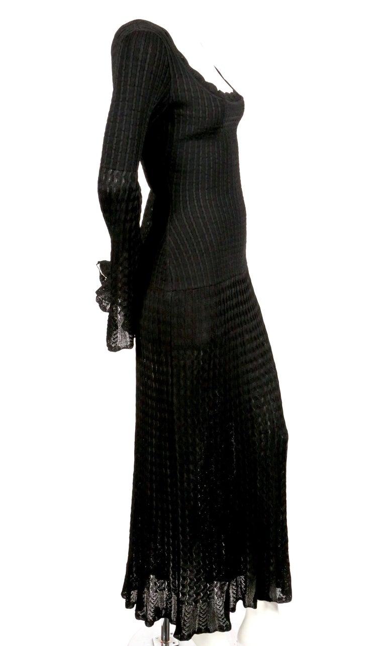 Women's or Men's 1992 AZZEDINE ALAIA black open knit long dress For Sale