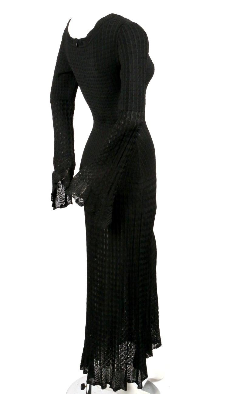 1992 AZZEDINE ALAIA black open knit long dress For Sale 1