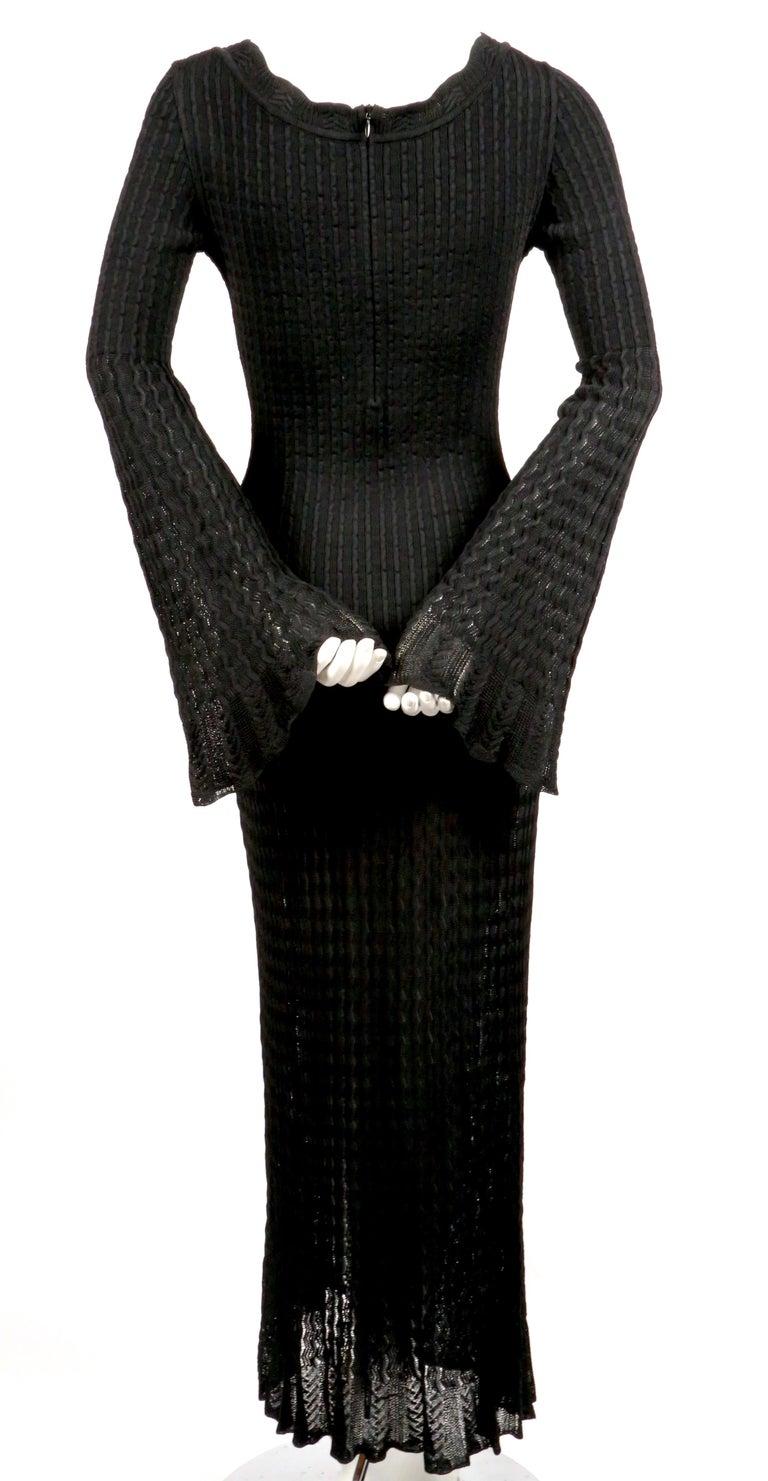 1992 AZZEDINE ALAIA black open knit long dress For Sale 2