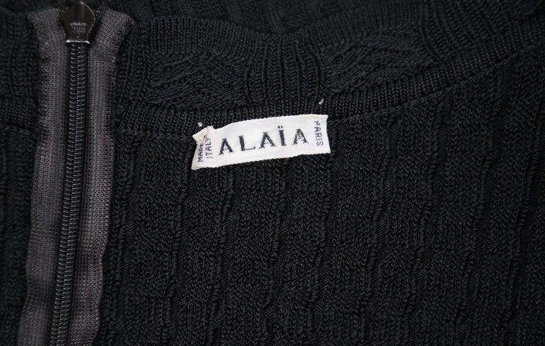 1992 AZZEDINE ALAIA black open knit long dress For Sale 5