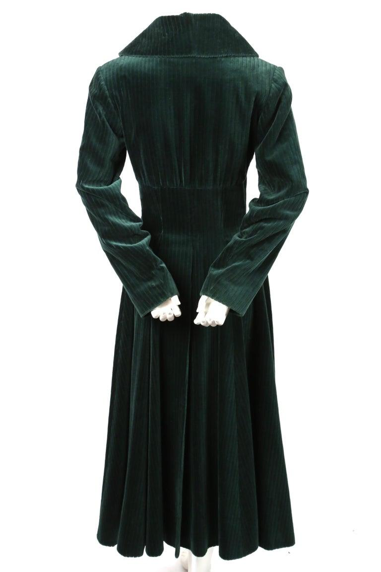 1992 AZZEDINE ALAIA forest green velvet runway coat In Good Condition For Sale In San Fransisco, CA