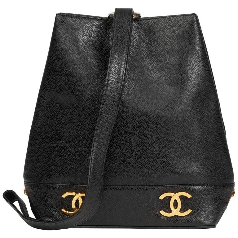 6aadfa431 1992 Chanel Black Caviar Leather Vintage Logo Trim Bucket Bag For Sale
