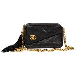 1992 Chanel Black Quilted Lambskin Vintage Classic Fringe Shoulder Bag