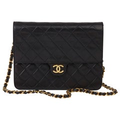 1992 Chanel Black Quilted Lambskin Vintage Small Classic Single Flap Bag