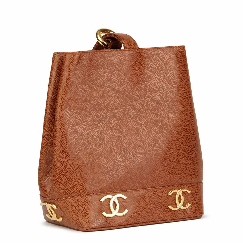 7800c260991b 1992 Chanel Brown Caviar Leather Vintage Logo Trim Bucket Bag at 1stdibs