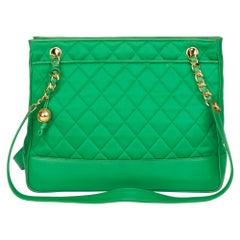 1992 Chanel Green Quilted Satin & Lambskin Vintage Timeless Shoulder Bag