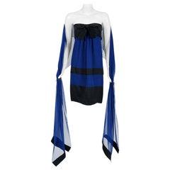 1992 Chanel Runway Sapphire-Blue & Black Silk Strapless Bow Dress with Shawl