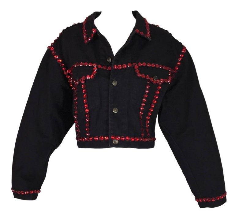 1992 Dolce & Gabbana Black Denim STAR Red Crystals Embellished Baggy Jacket Coat In Good Condition For Sale In Yukon, OK