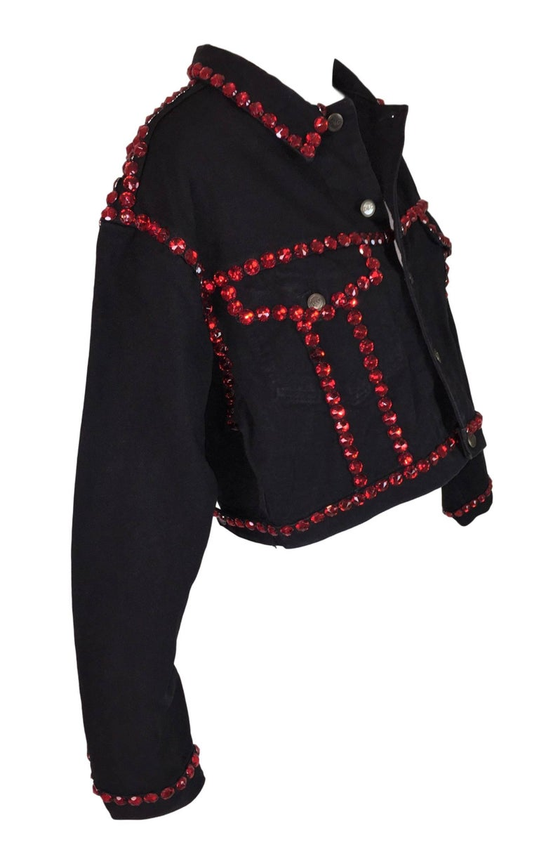 Women's 1992 Dolce & Gabbana Black Denim STAR Red Crystals Embellished Baggy Jacket Coat For Sale