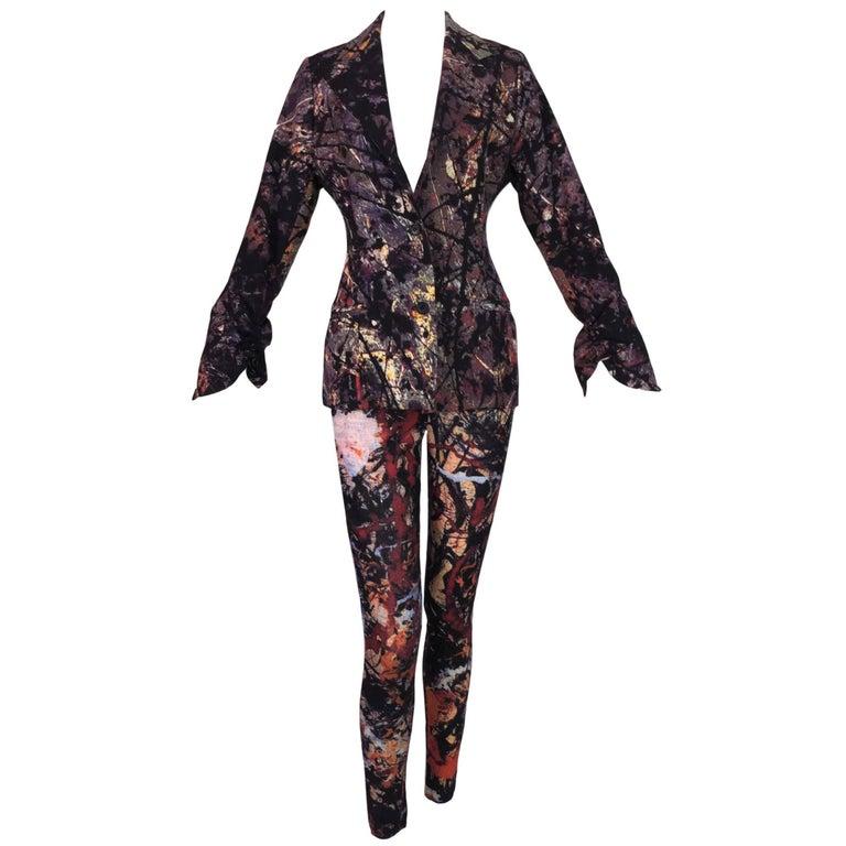 1992 Dolce & Gabbana Paint Splatter Print High Waist Leggings & Jacket Set
