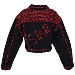 1992 Dolce & Gabbana Black Denim STAR Red Crystals Embellished Baggy Jacket Coat