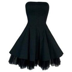 1992 Dolce & Gabbana Black Strapless Pin-Up Tulle A-line Mini Dress